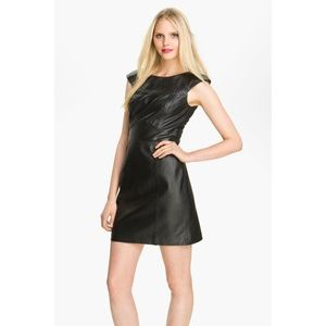 French Connection Black Leather Stitch Trim Dress